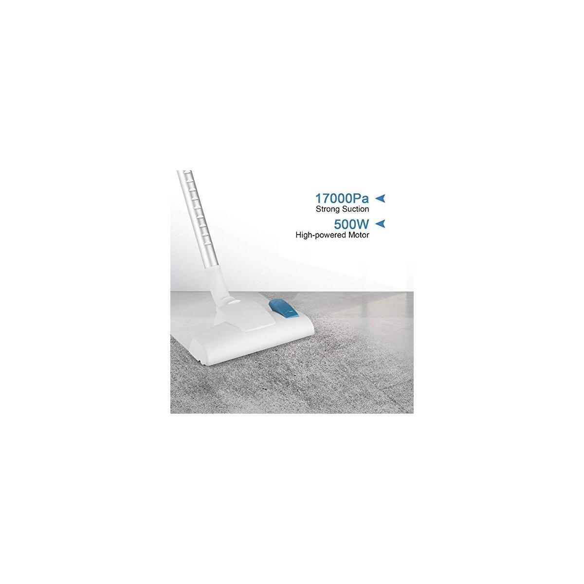MOOSOO Vacuum Cleaner, 17KPa Suction Stick Vacuum 2 in 1 Handheld Vacuum for Hard Floor with 2-Pack HEPA Filters, D600 (23 Feet Cord, White)