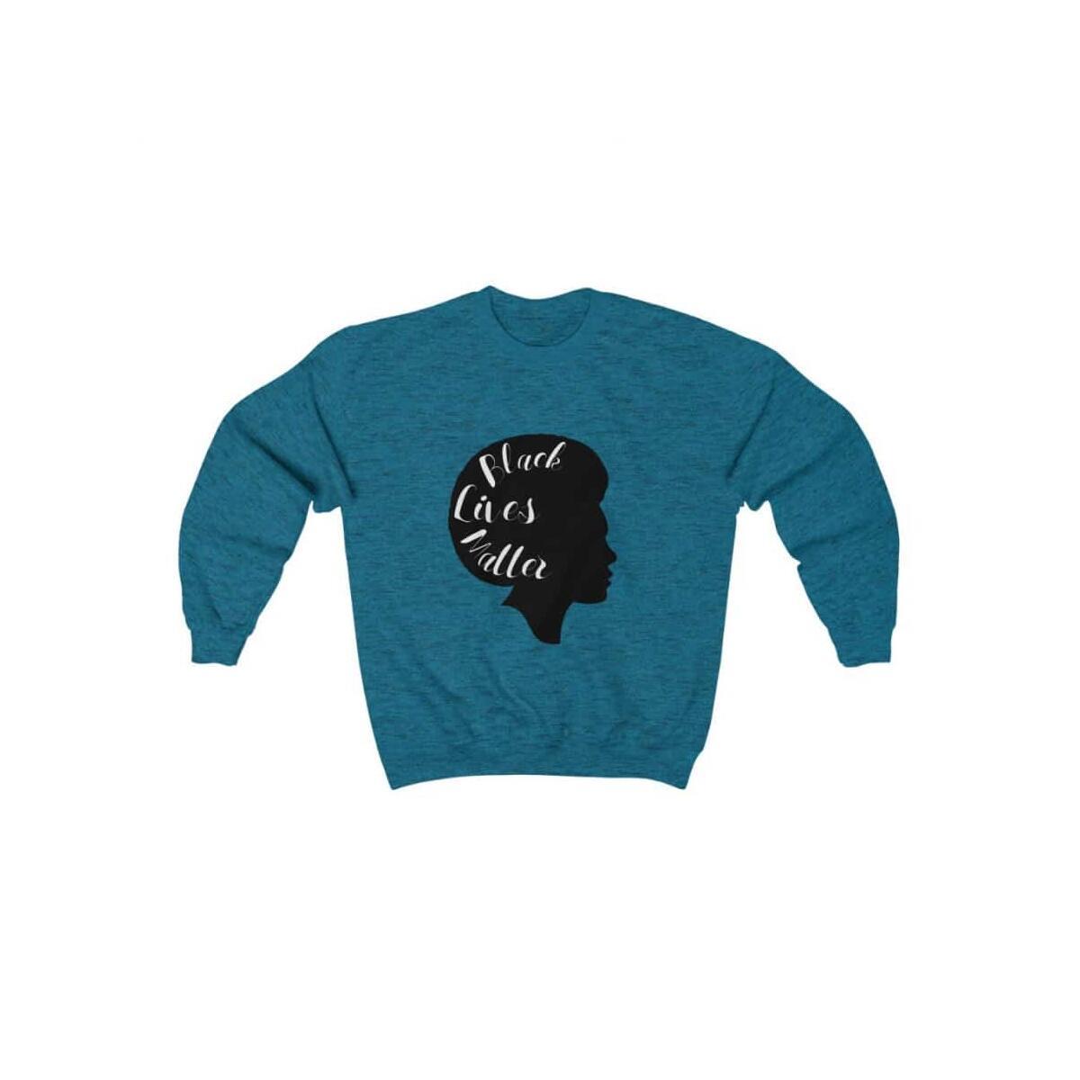 Afrocentric Sideface Crewneck Sweatshirt, Antique Sapphire / S