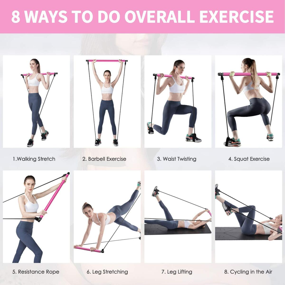 XCLOHAS Pilates Bar Kit with Resistance Band Portable Pilates Exercise Stick Muscle Toning Bar Home Gym Pilates with Foot Loop for Overall Body Workout