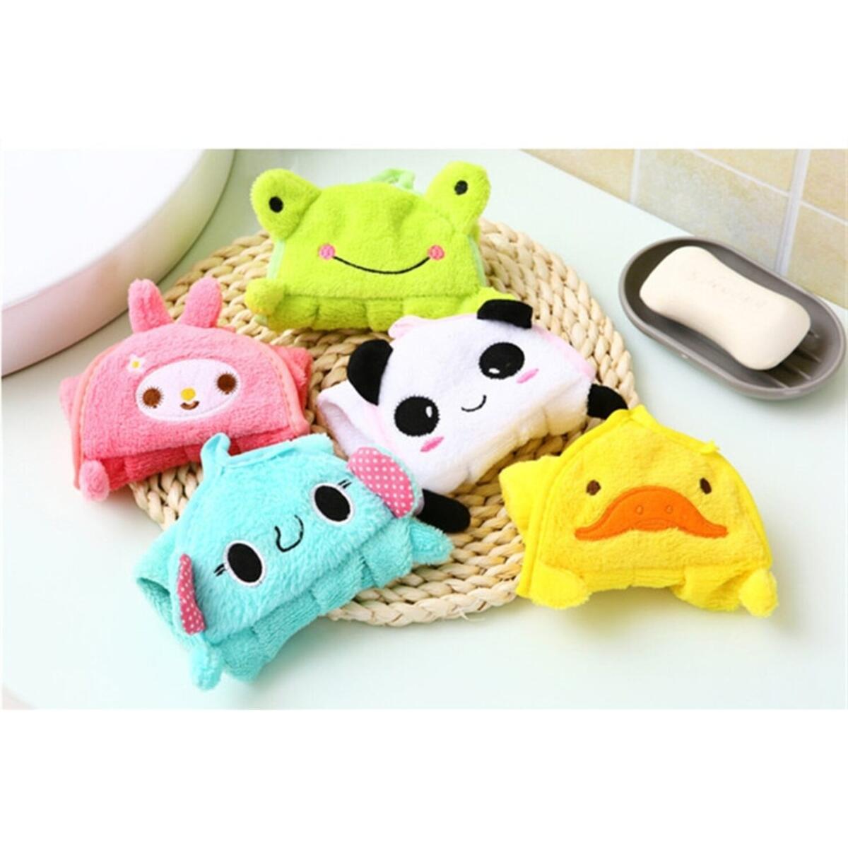 Baby Nursery Hand Towel Baby Bath Towels Toddler Soft Plush Cartoon Animal Wipe Hanging Bathing Children Bathroom Towel