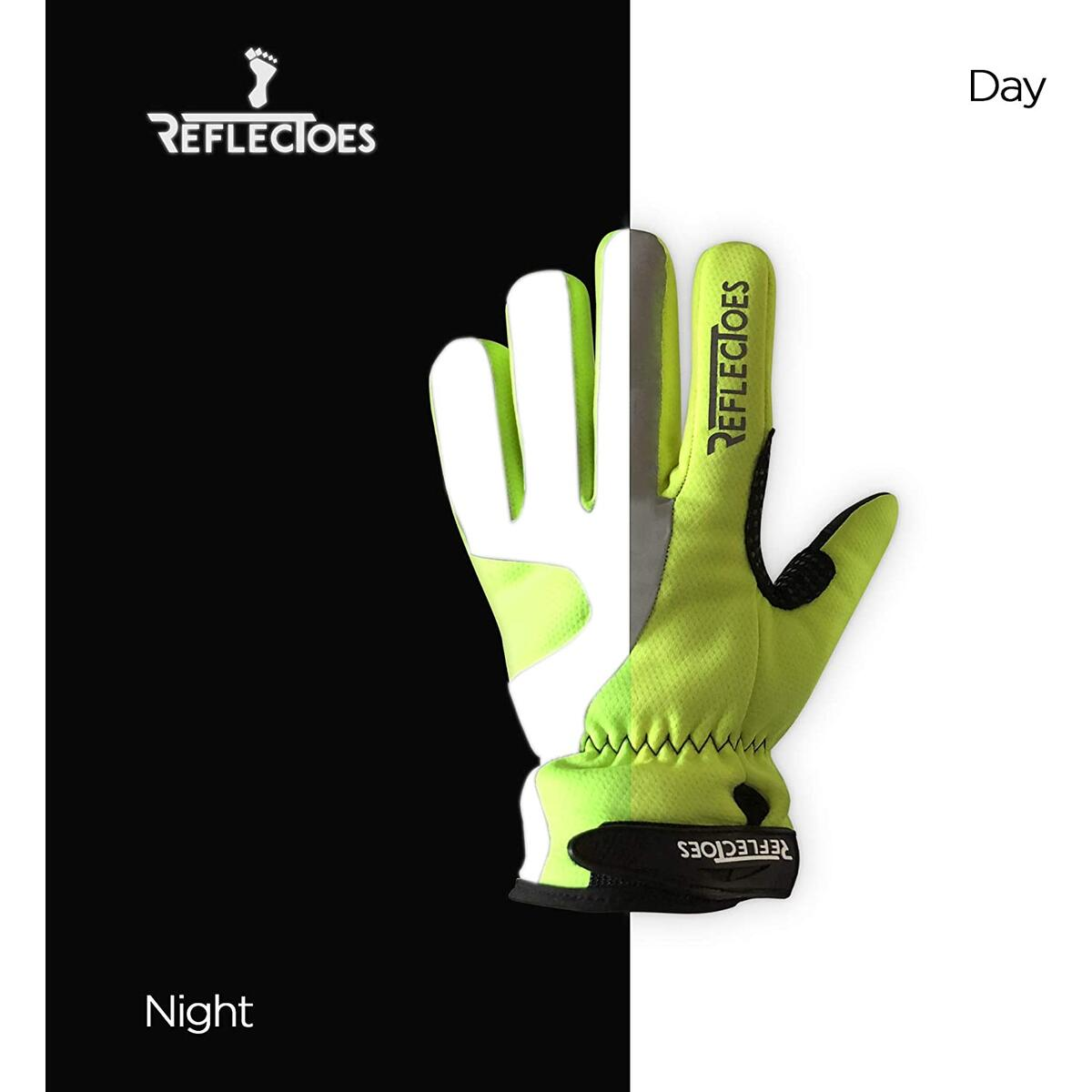 ReflecToes Fluorescent Reflective Gloves - High Viz for Cycling, Running, Walking, Winter Bike Rides, Cold Weather Training and Outdoor Sports. Waterproof Design for Men & Women
