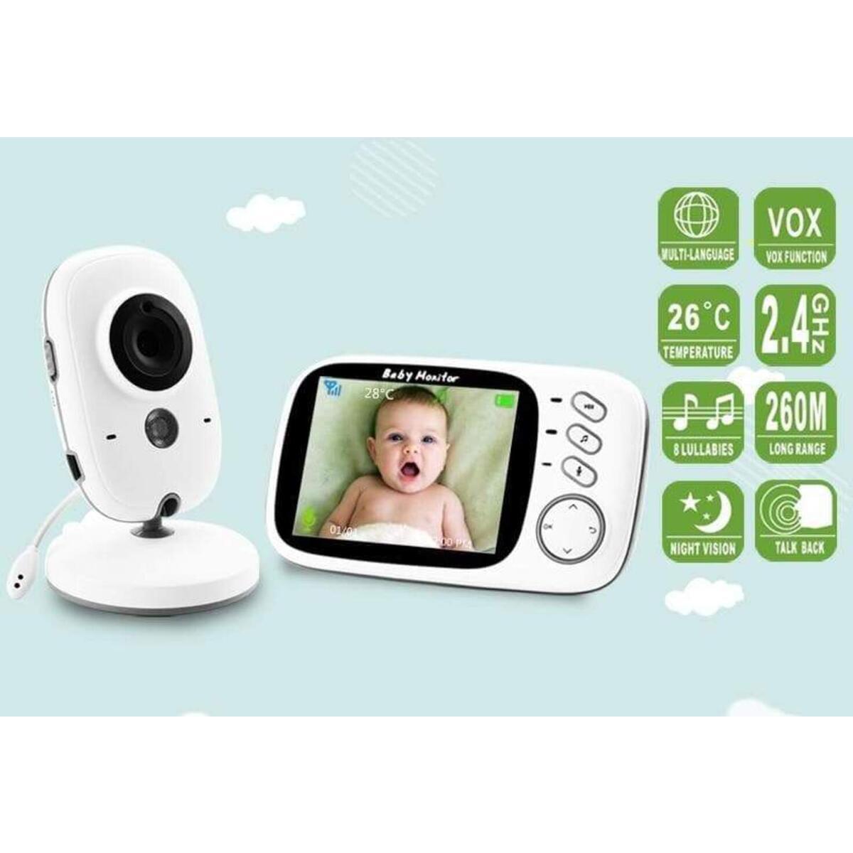 Video Baby Surveillance Monitor Wireless Camera ,LCD Digital Camera with Auto Infrared Night Vision, Power Saving, 2-Way Talk Back, Temperature Sensor Night Light, LCD Display, Lullabies