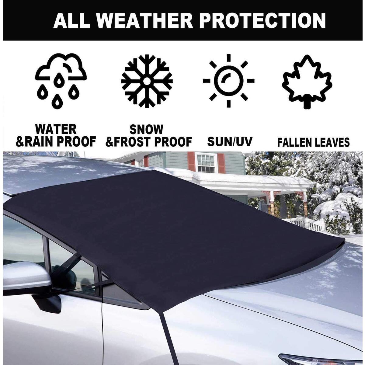 BodiCal Windshield Snow Ice Cover for Car, 600D Oxford Fabric Extra Large Thick Frost Guard Windshield Protector Cover from Ice and Snow, Straps Fixed Windproof, Fits Most Cars Trucks SUV MPV