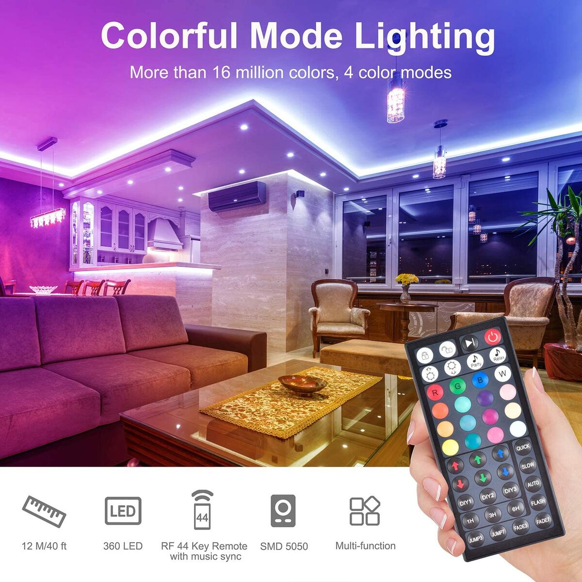 Music Sync LED Strip Light -Wixann 40FT RGB Color Changing Dimmable LED Strip Lights Kits with 44 Key RF Remote, SMD 5050 12V Flexible Led Tape Lights for Bedroom,Living Room,Kitchen TV or Party