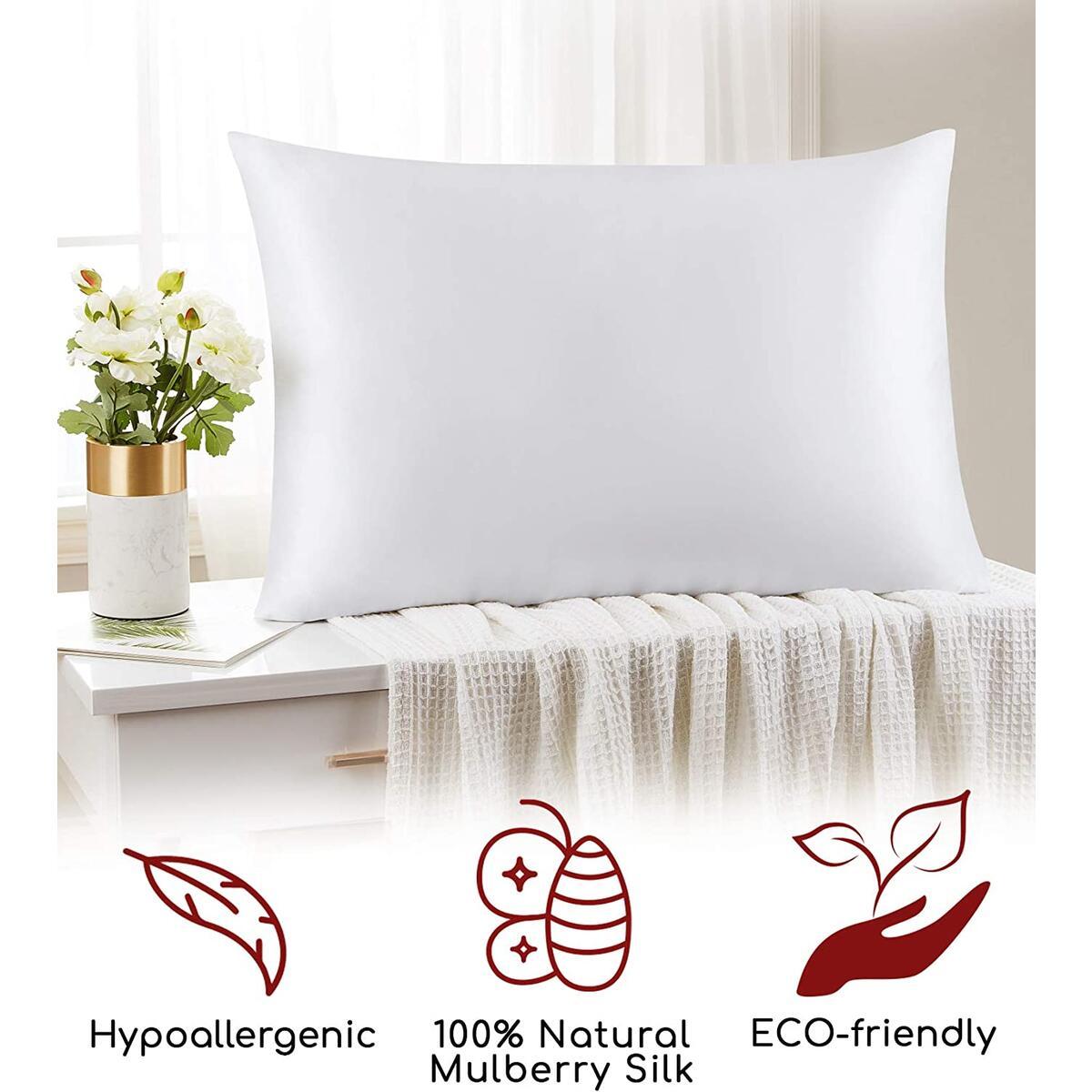 Mellanni Silk Pillowcase for Hair and Skin - Both Sides 100% Pure Natural Mulberry Silk - 19 Momme - Hidden Zipper ClosurePillow Case- (Queen 20