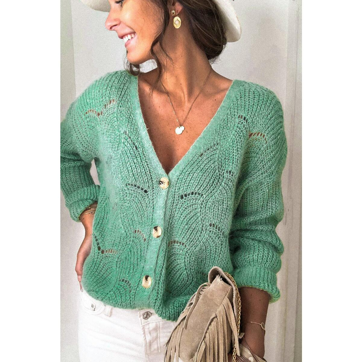 Button Up V-Neck Women's Sweater | Maybelle, Green / 2XL