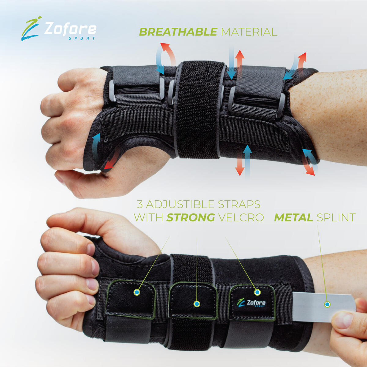 Carpal Tunnel Wrist Brace Support with Metal Splint Stabilizer by Zofore - Helps Relieve Tendinitis Arthritis Carpal Tunnel Pain - Reduces Recovery Time for Men Women