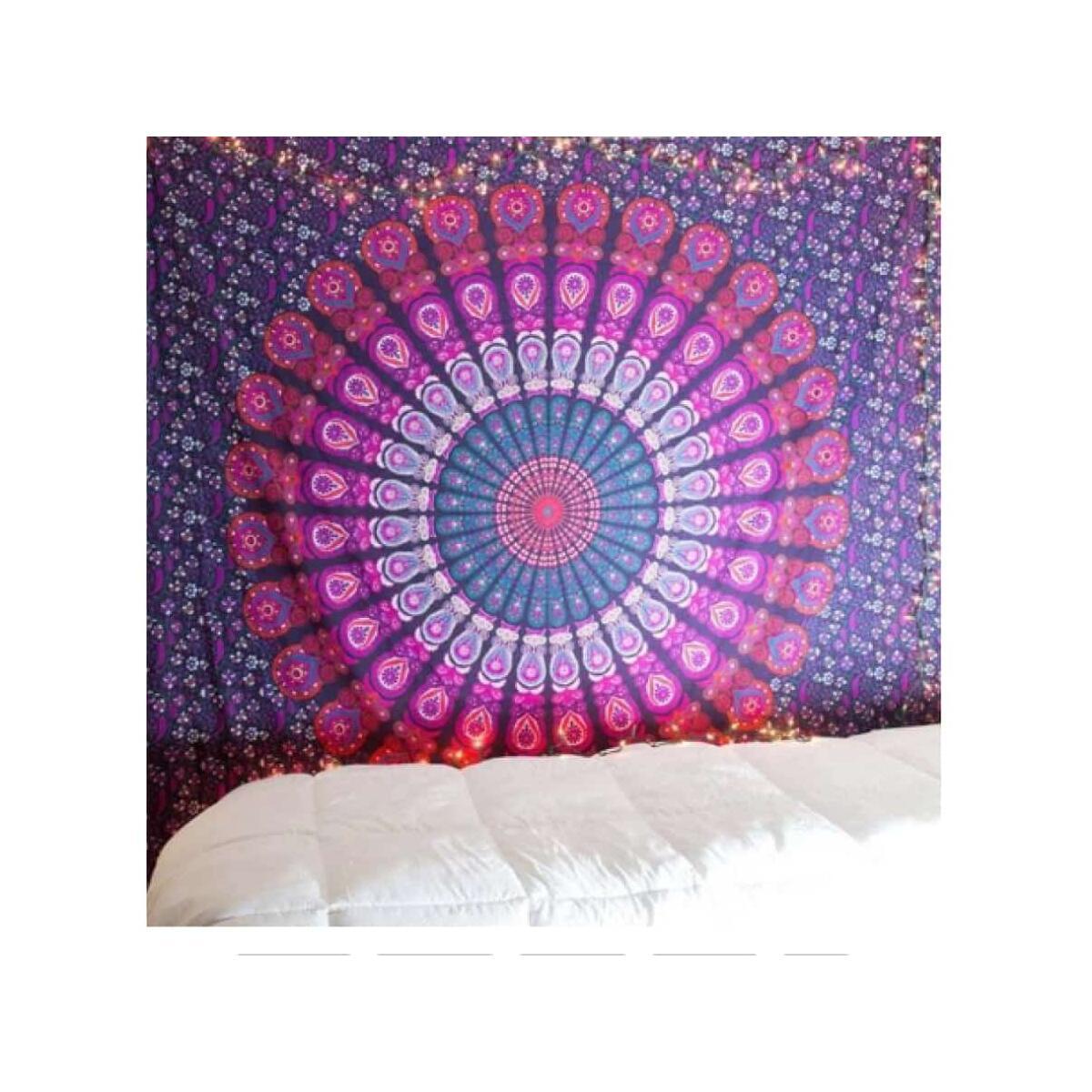 Mandala beach blanket wall hanging decoration towel, 150x130cm thick / Purple