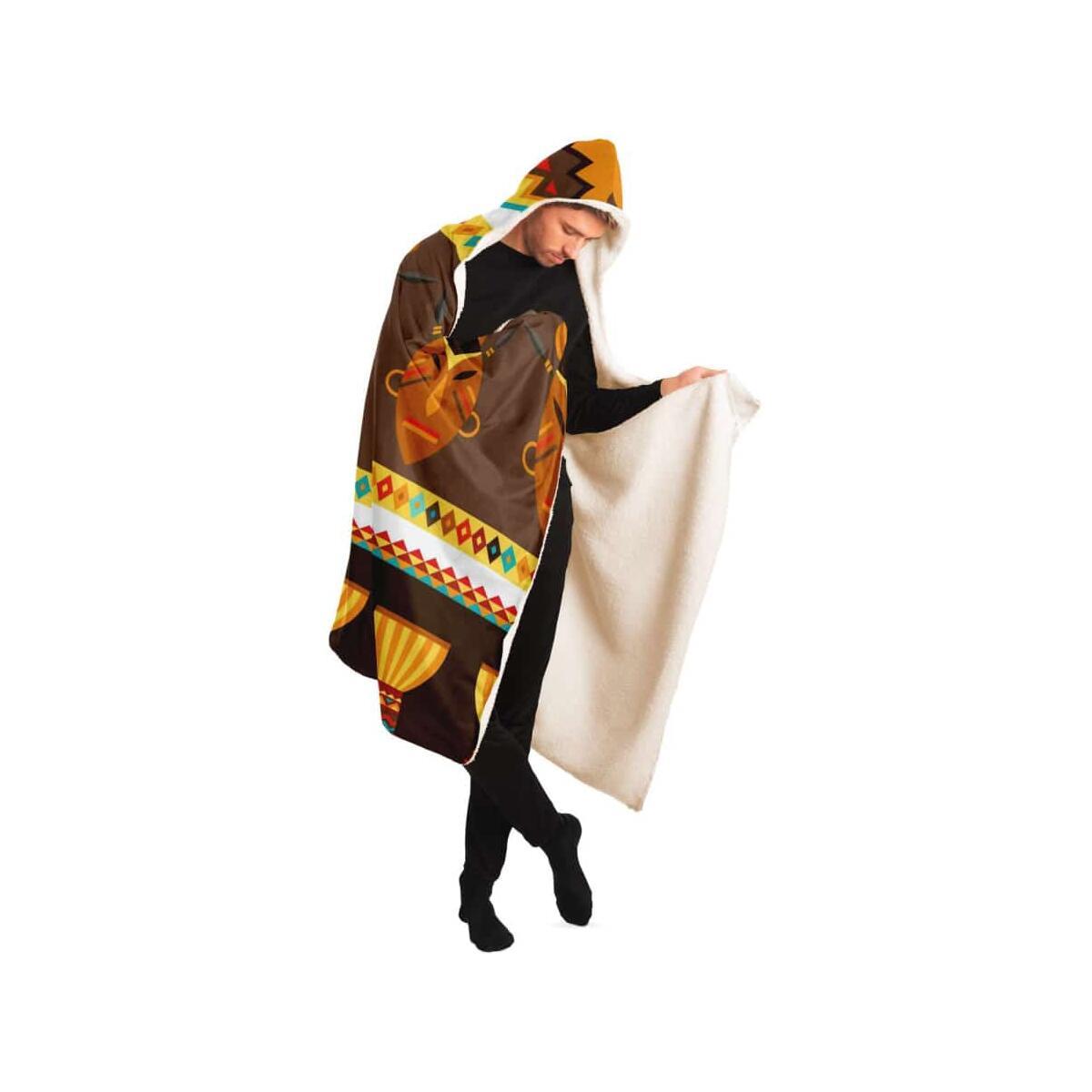 African Djembe Masks Hooded Blanket, Adult / Premium Sherpa