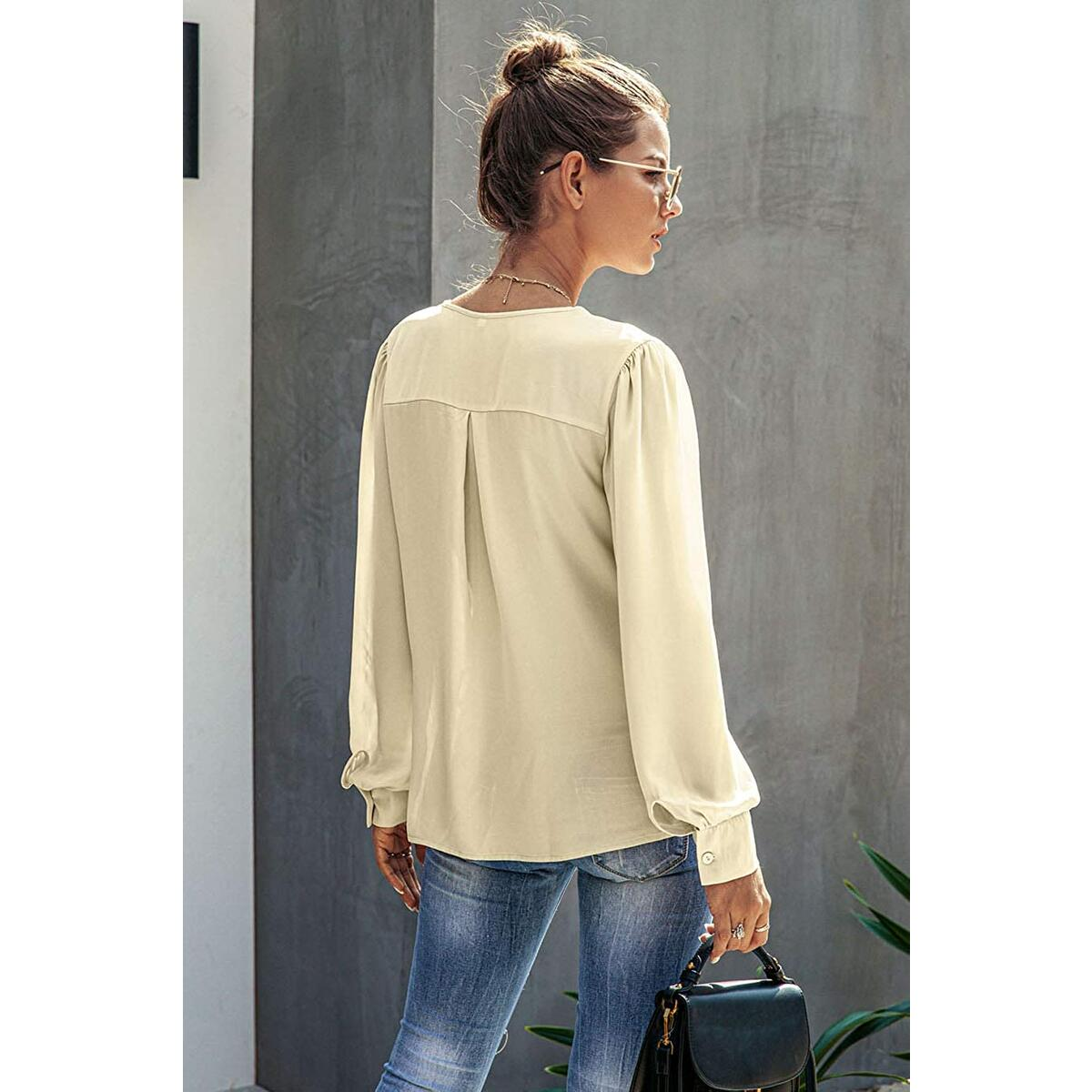 Alelly Women's Solid Color Elegant Tops Trumpet Long Sleeve Blouse Loose Tunic V Neck Pleat Shirt All