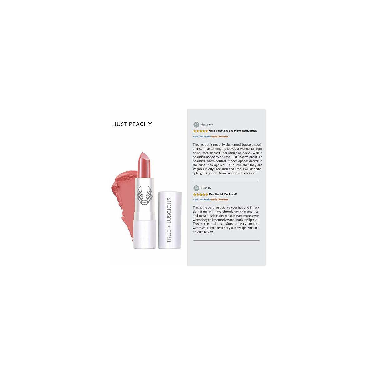 Super Moisture Lipstick by True + Luscious - Clean Formula, Smooth and Hydrating - Vegan and Cruelty Free Lipstick, Non Toxic and Lead Free Shade: Just Peachy - 0.12 oz