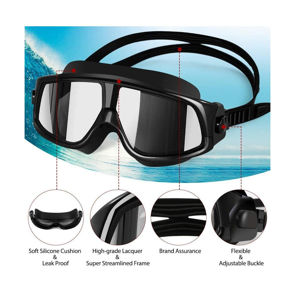 Aquior Swim Goggles, Clear Anti-Fog Safety Goggles, Streamlined Design Glass Leakproof UV Protection with Soft Silicone Nose Bride, Sport Goggles, Swimming Glass for Adult Youth Men Women