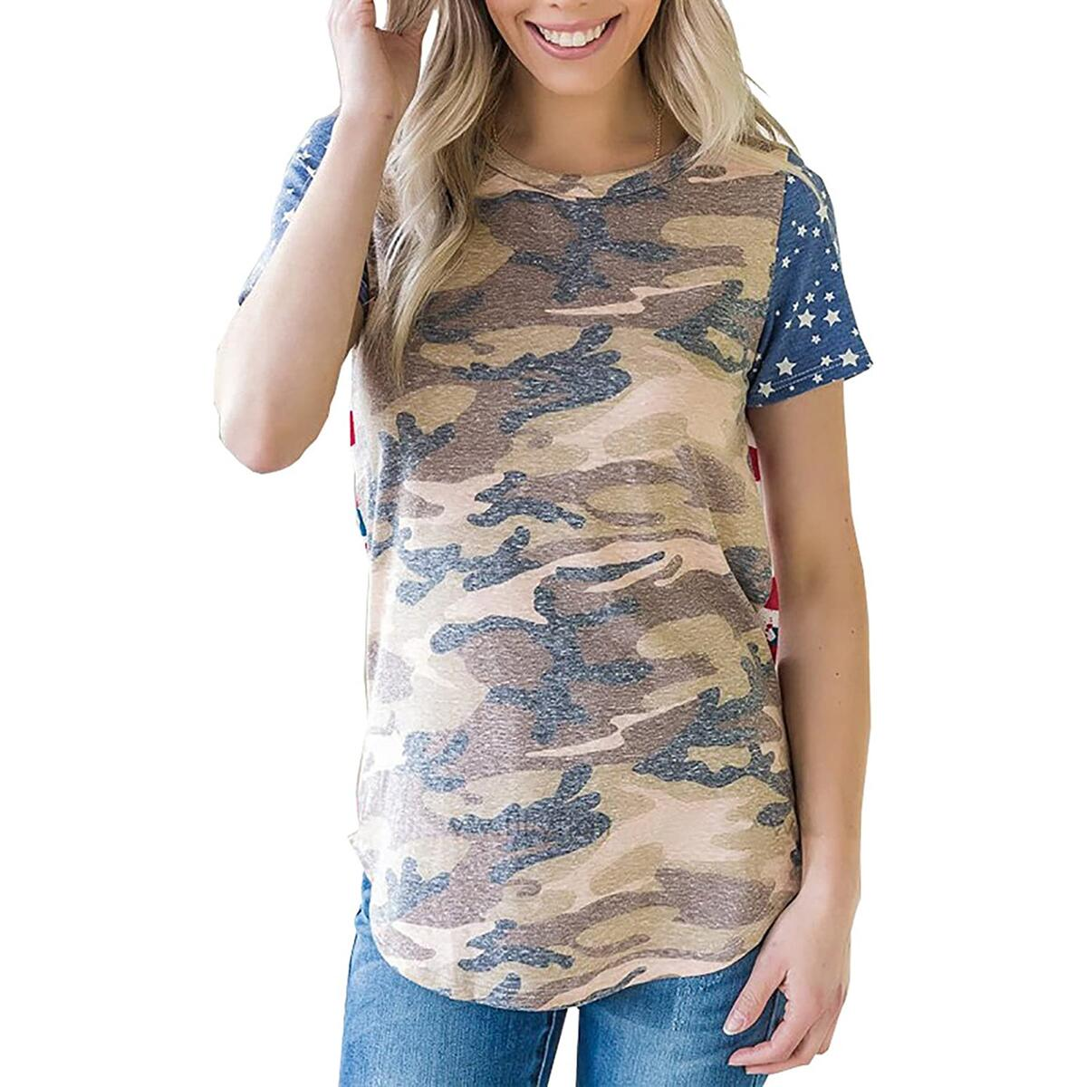 Alelly Women's Summer Casual O-Neck Short Sleeve T Shirts Loose Tops Blouse