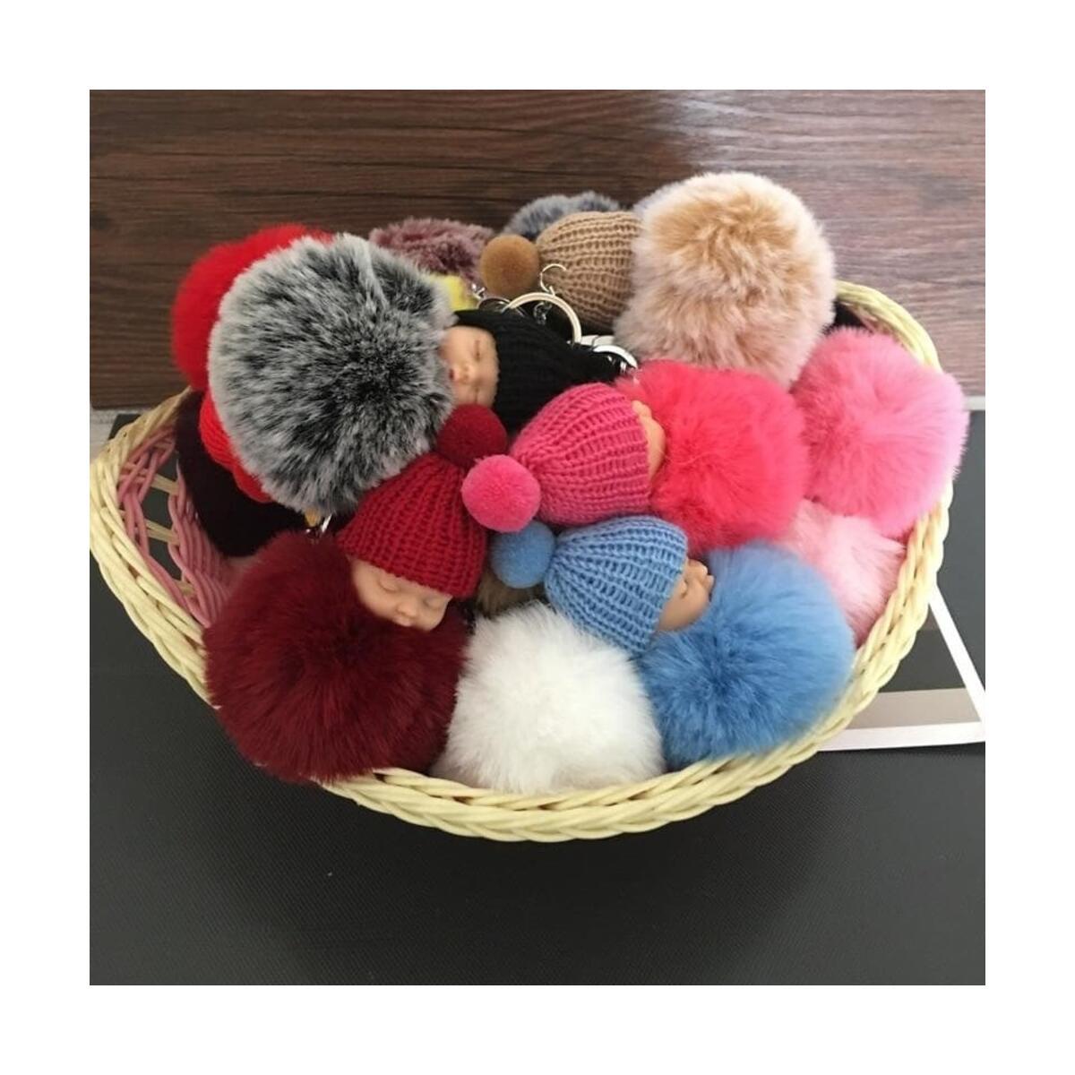 Cute Sleeping Baby Doll Keychain Pompom  Faux Fur Ball Car Keyring Baby Toy Key Chain Women Key Holder Bag