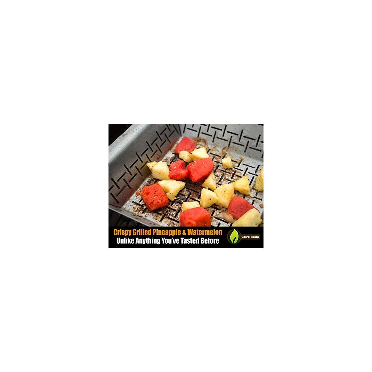 Cave Tools BBQ Skewers Set (10) Extra Long + Vegetable Grill Basket - Dishwasher Safe Stainless Steel - Large Non Stick Grid Pan for Veggies & Meat - Best Barbecue Wok Topper Accessories Gift for Dad