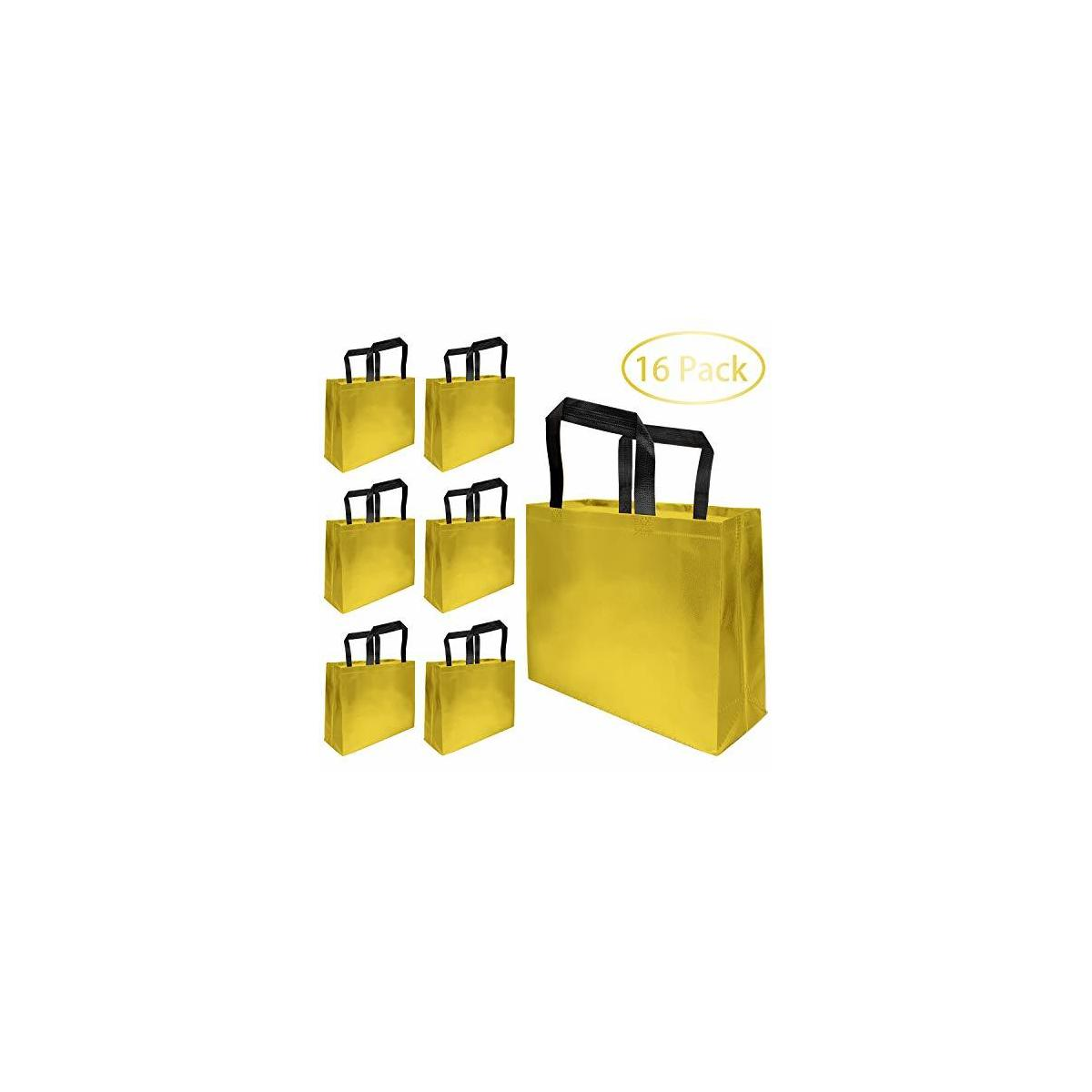 16 Pack Glossy Grocery Shopping Bags Christmas Reusable Grocery Tote Bag with Handle, Non-woven Stylish Present Bag, Gift Bag, Goodies Bag, Promotional Bag for Party, Wedding, Event, Birthday (Gold)