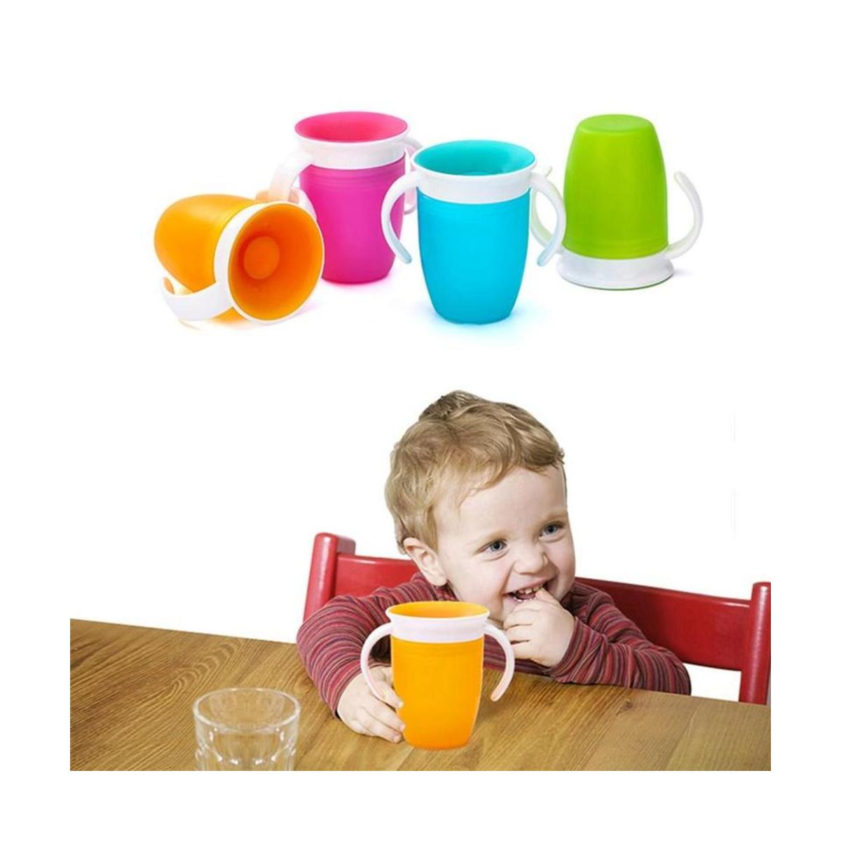 Rotated 360 Degrees Baby Learning Drinking plastic Cup with Double Handle Flip Lid Leak proof