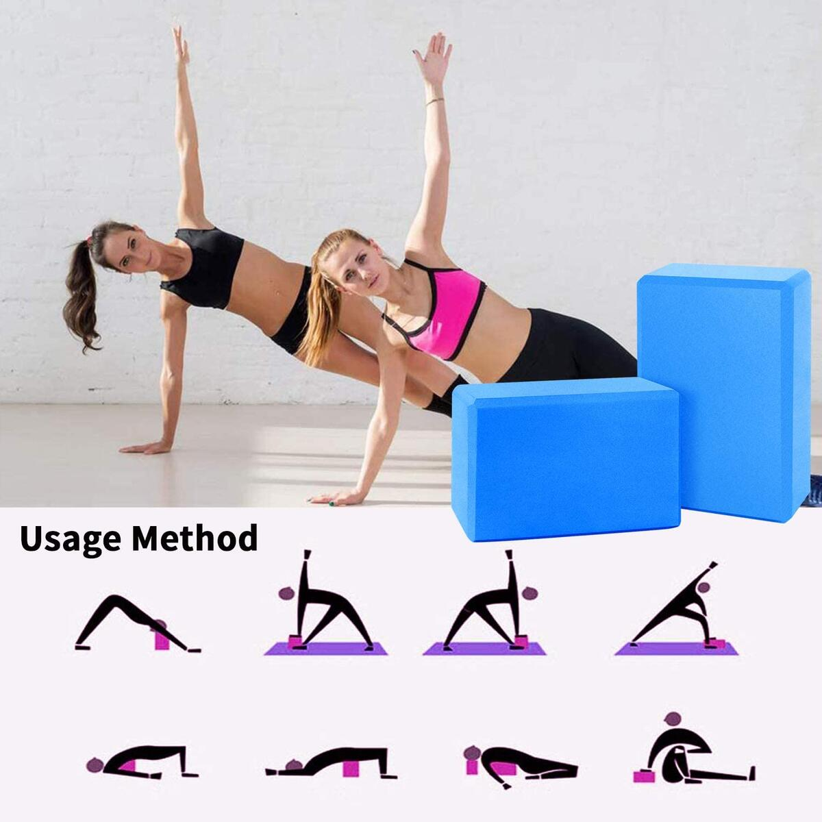 Sunrich Yoya Blocks 2 Pack wth Resistance Bands Set High Density EVA Foam Brick Soft Non-Slip Surface Provide Stability Blacnce Strength for Women Yoya Pilates Exercise to Support Deepen Postures