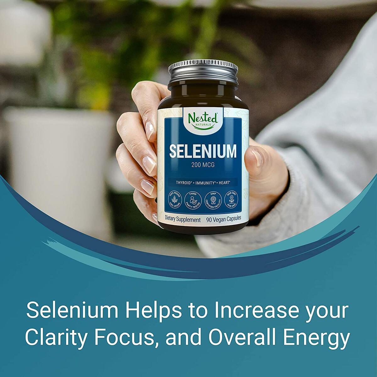 Nested Naturals Selenium 200mcg for Thyroid, Prostate and Heart Health | Immune System Function Supplement