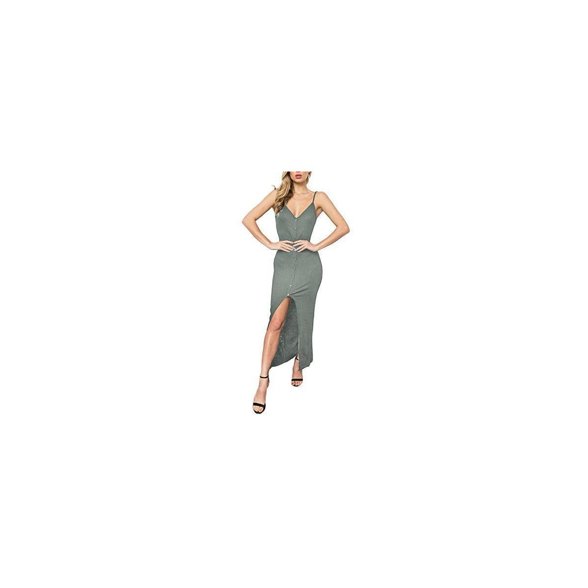 Women's Summer Spaghetti Strap Button Down Evening Party Bodycon Mermaid Midi Dress