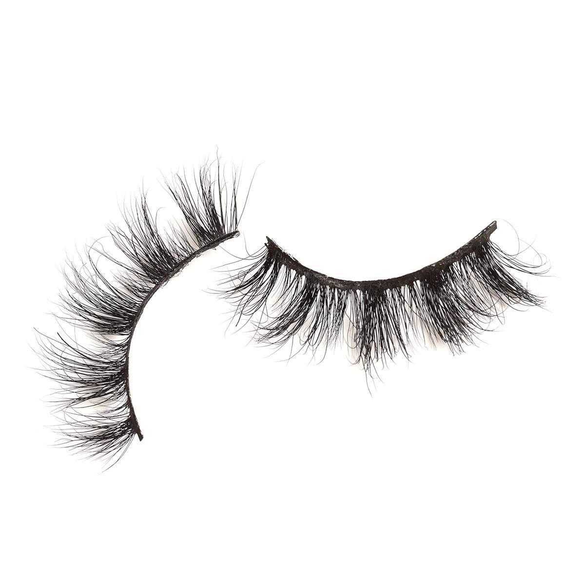 Haibara Mink Eyelashes 19mm Daily look for makeup, Natural Layered Effect Reusable Hand Made Strips Eyelashes Eco-friendly 100% Siberian Mink Fur 1 Pair (Daily E0 19mm)