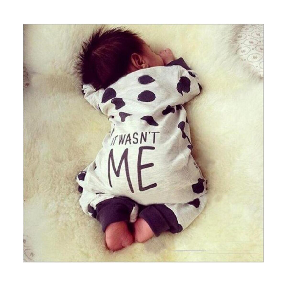 Newborn Baby Boy Girl Clothes It Wasn't Me Polka Dot Romper Jumpsuit Infant Clothing Set Outfits