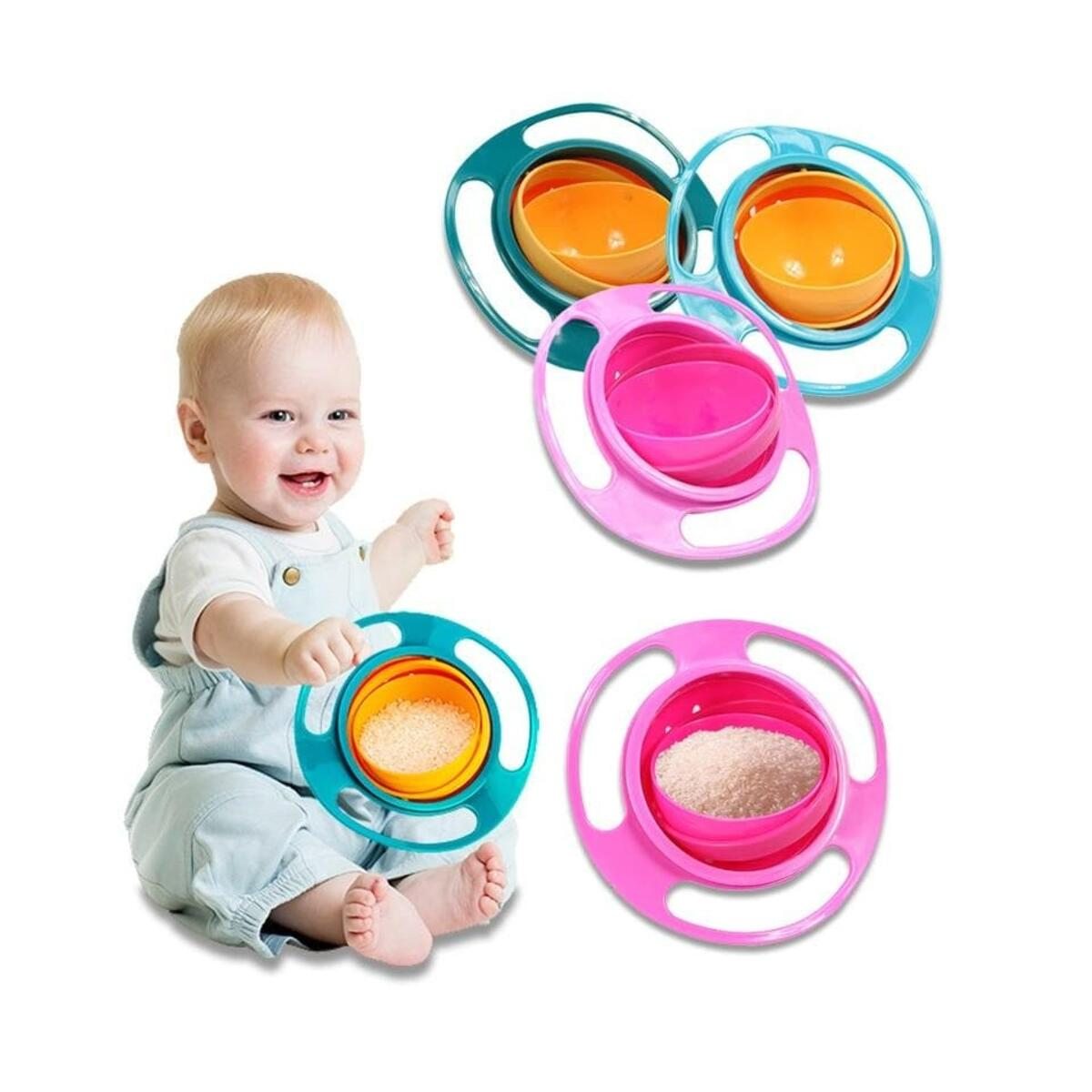 Kids Rotatable Spilling Resistant Bowl Dishes Baby Universal 360 Degree Feeding Toys