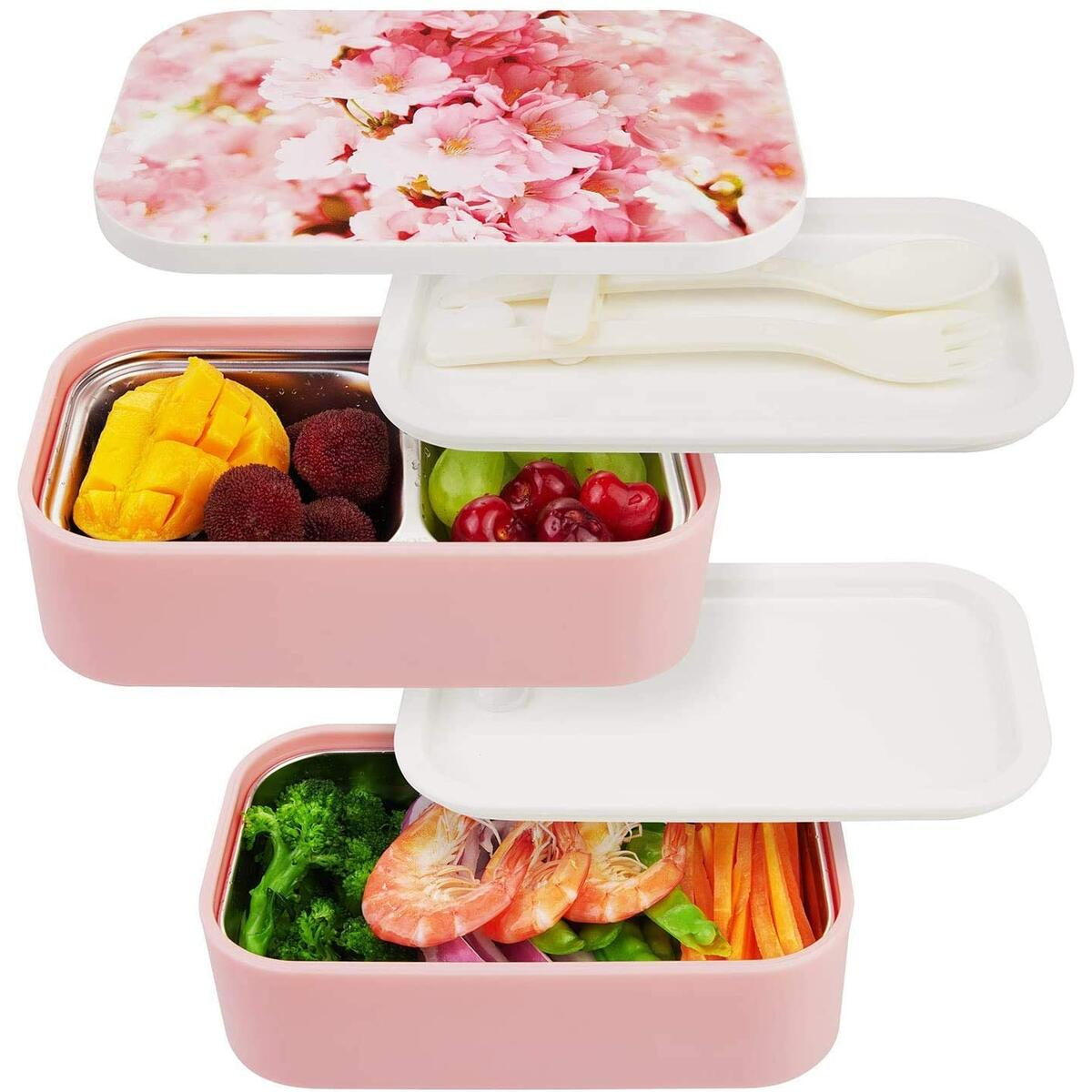 Stainless Steel Bento Box - All-in-One Leak Proof Stackable Container - Modern Bento-Style Design, Built-in Plastic Utensil Set, and Nylon Sealing Strap (Cherry)