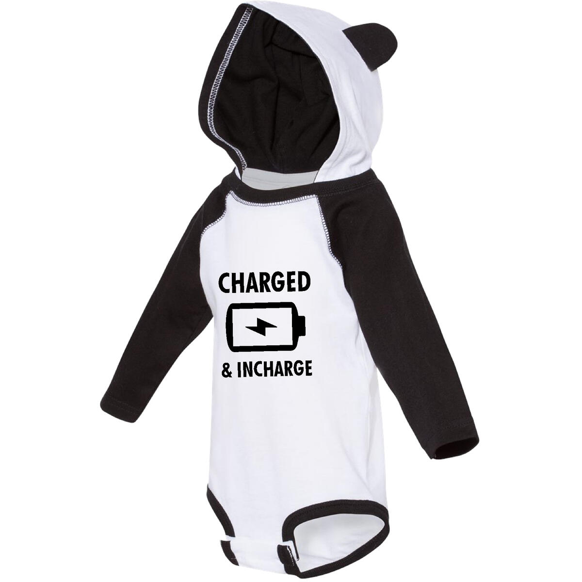 GuyosApparel Funny Baby Bodysuit with Ears Charged and in-Charge Baby Cute