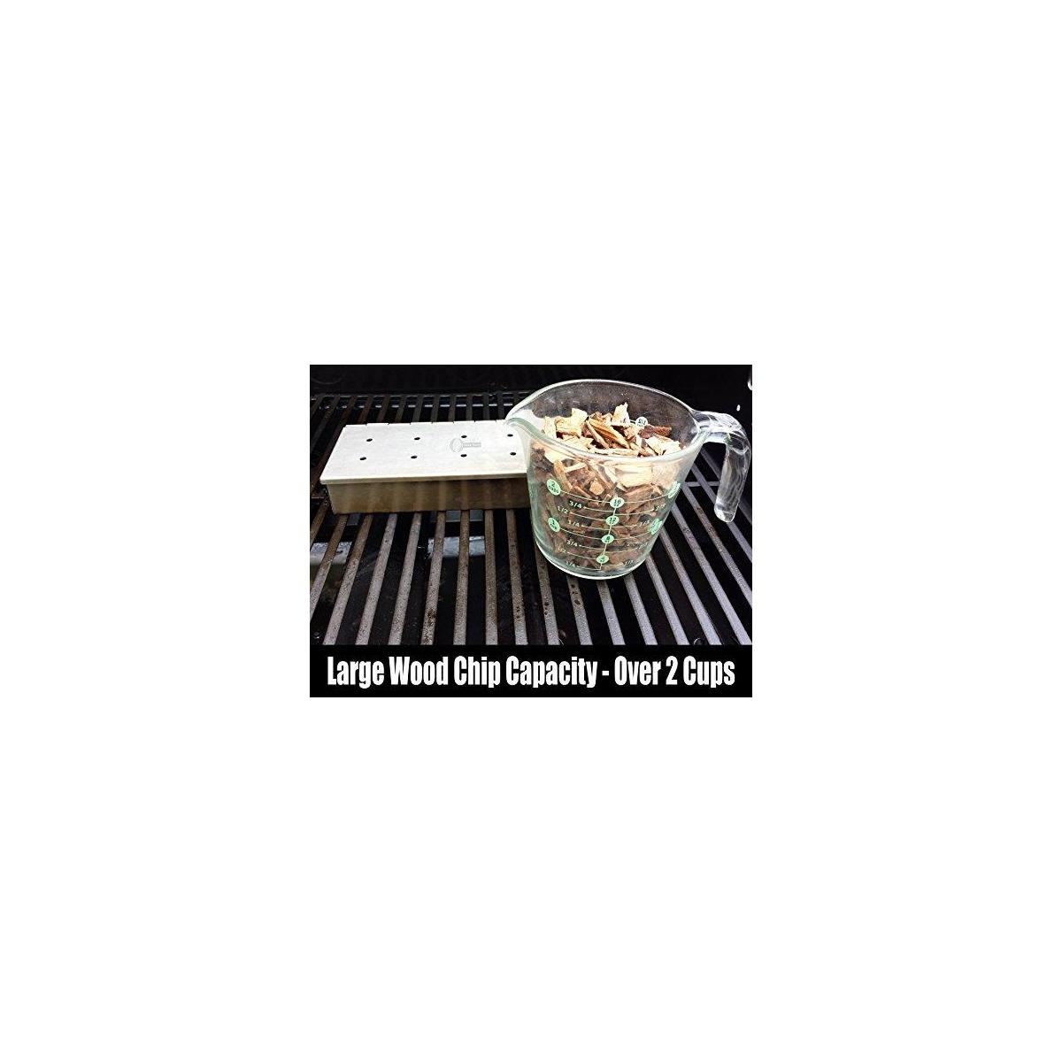 Kabob Skewers + Smoker Box for BBQ Grill Wood Chips - 25% Thicker Stainless Steel Won't Warp - Charcoal and Gas Barbecue Meat Smoking with Hinged Lid - Grilling Accessories Utensils Gift for Dad