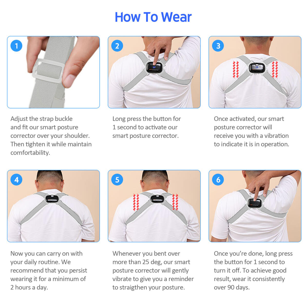Acbex Smart Posture Corrector for Women, Men & Kids (Gray) - FREE SHIPPING