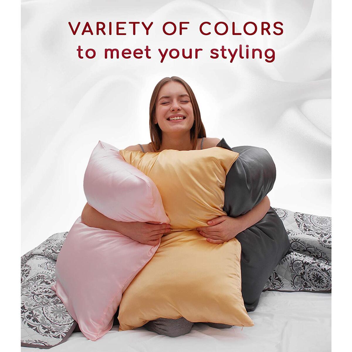 Mellanni Silk Pillowcase for Hair and Skin - Both Sides 100% Pure Natural Mulberry Silk - 19 Momme - Hidden Zipper ClosurePillow Case- (King 20