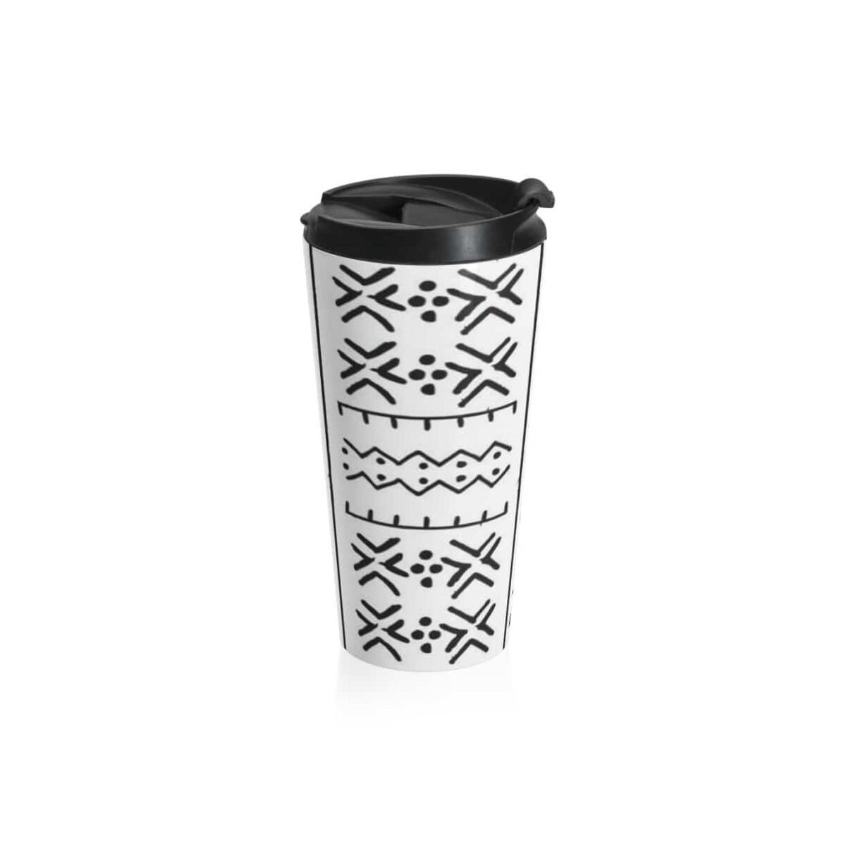 Black/White African Tribal Stainless Steel Travel Mug, Travel Mug
