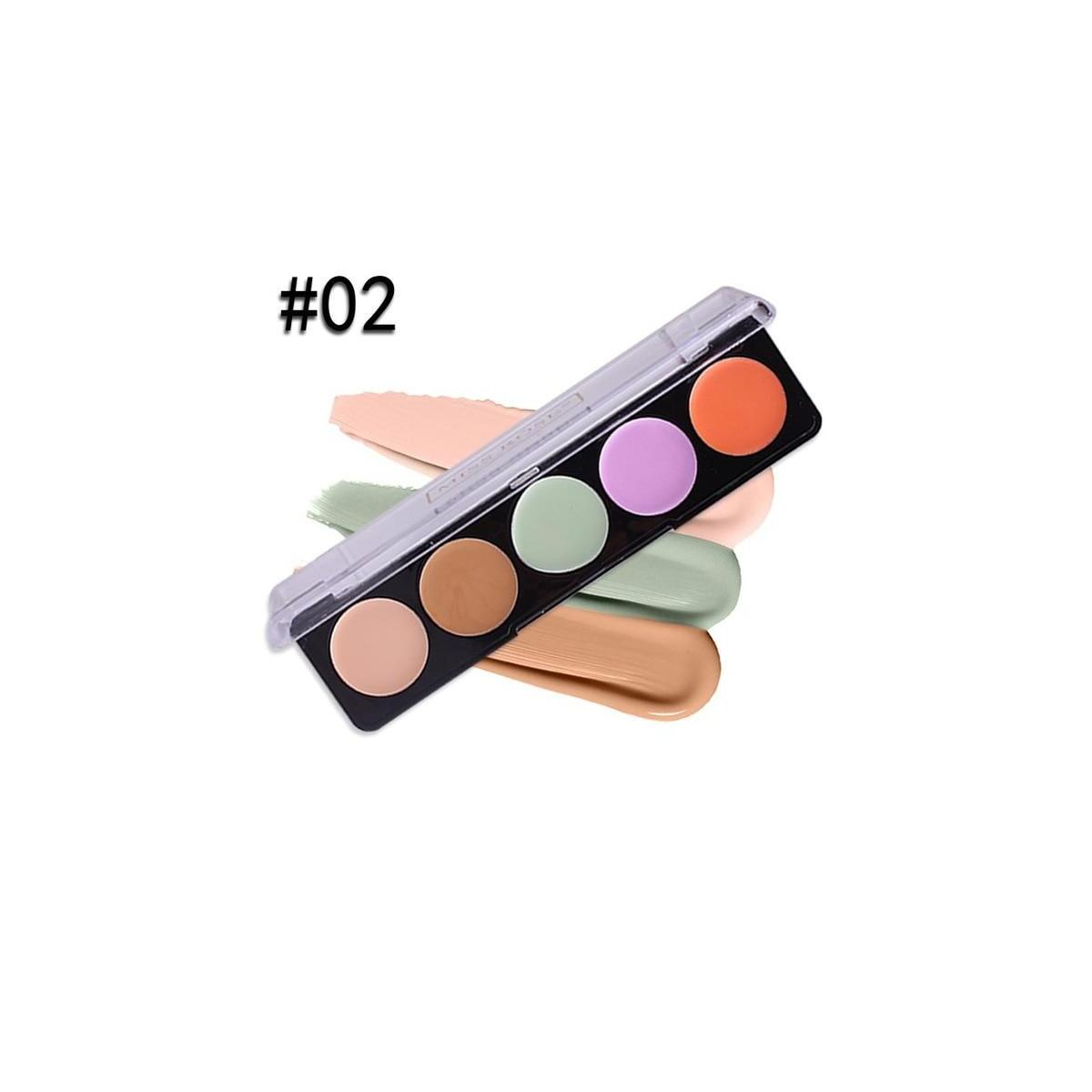 Miss Rose Professional Makeup 5 Colors Concealer Cream Palette, 02