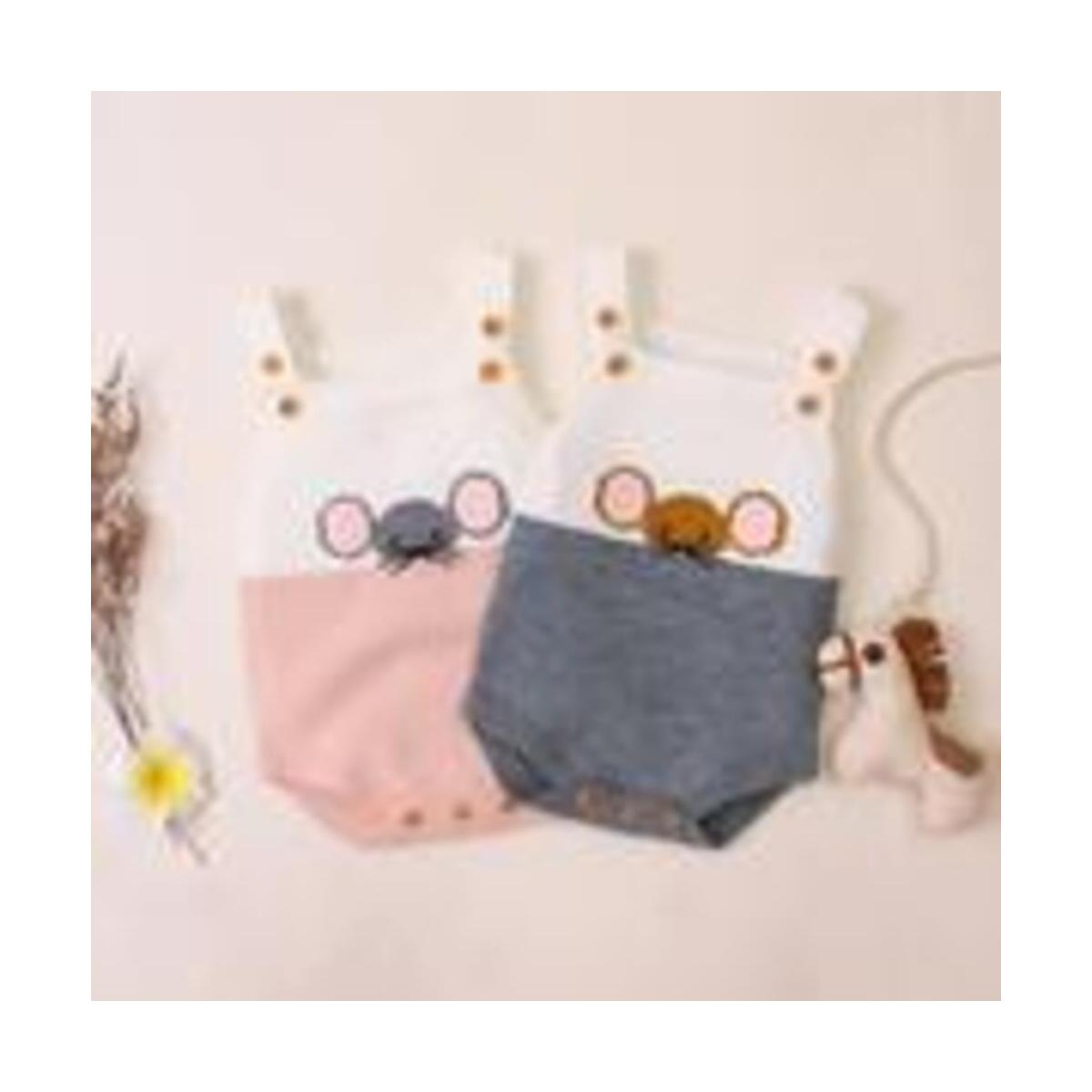 Baby Boys Girls Knitted Little Mouse Braces Rompers Autumn Infant Baby Romper Newborn Baby Boy Girl Clothes Triangle Rompers