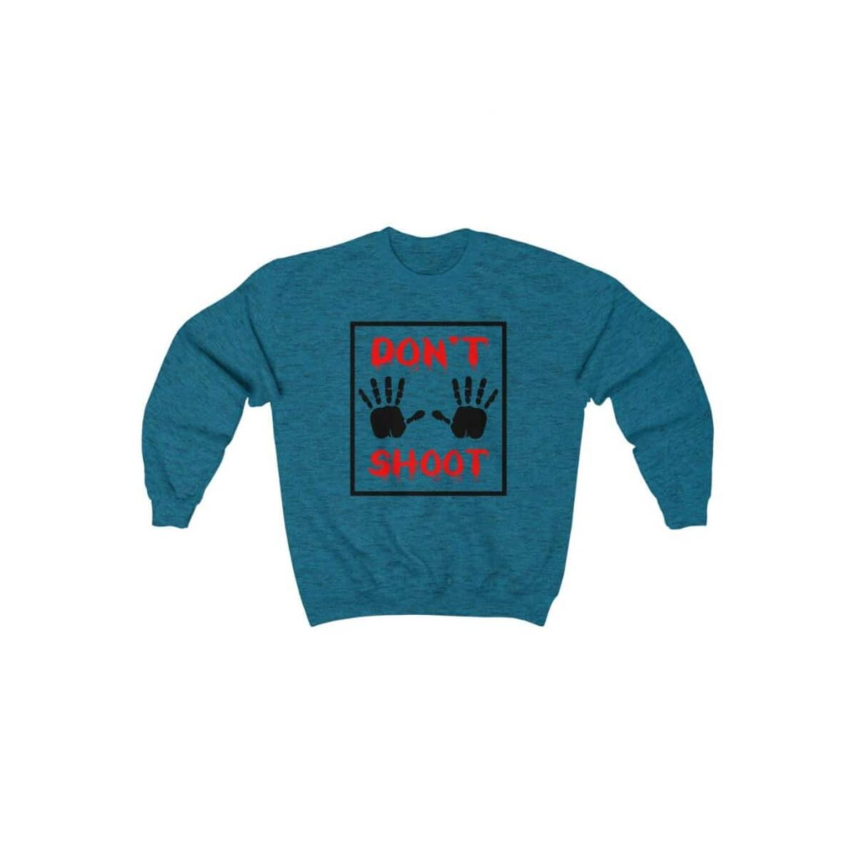 Afrocentric Don't Shoot Red Crewneck Sweatshirt, Antique Sapphire / S