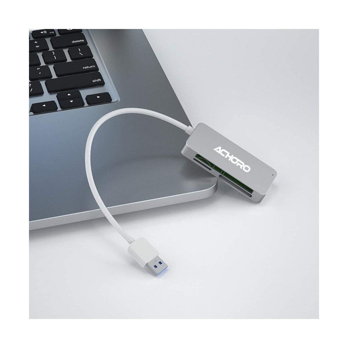 Achoro 3 in 1 SD TF CF Card Reader Compact Design Combo - Aluminum Housing Supports SD-XC, SD, SD2.0, MMC, RS-MMC, SD-HC, Micro SD, Mini SD, CF (Silver)