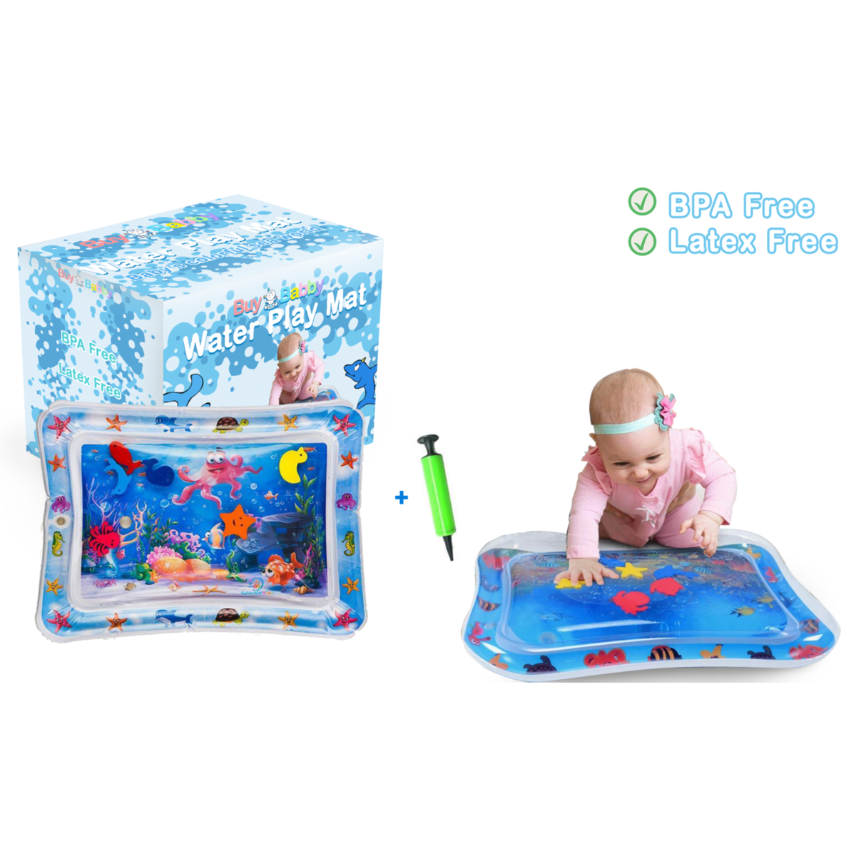 Baby Water Mat Tummy Time Water for Babies Infants & Toddlers, Inflatable and Leak Proof, Perfect Fun time Play Activity Center