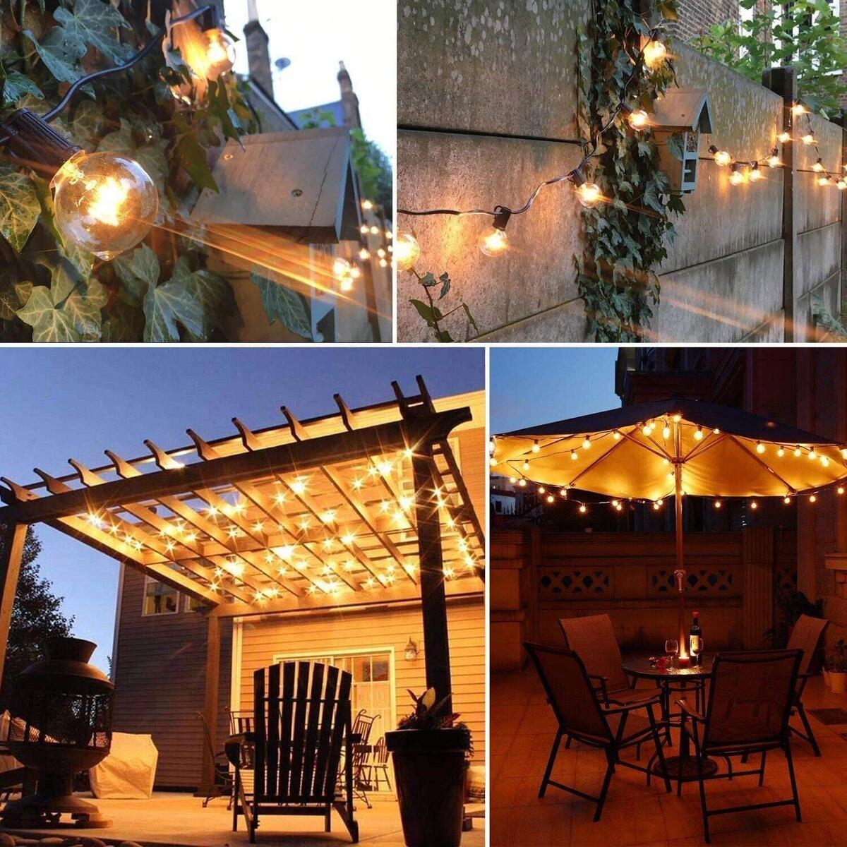 Solar Powered LED Outdoor String Lights, Hanging Retro Edison Filament Bulbs, 25 Bulbs per Strand, 4400-mAh, Weatherproof, 27 Ft Globe Lights Create Bistro Ambience in Your Yard, Pergola, by Wixann