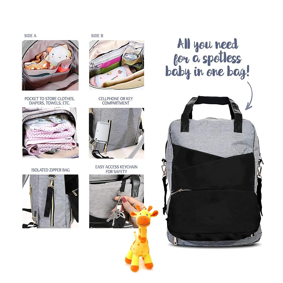 Diaper Bag Backpack 8-in-1 | Large Diaper Bag | All-Purpose Modern Faux Leather for Girl and Boy With Changing Pad | Great Baby Shower Gift for a Mom to be | Water Resistant Ideal for Newborn Diapers