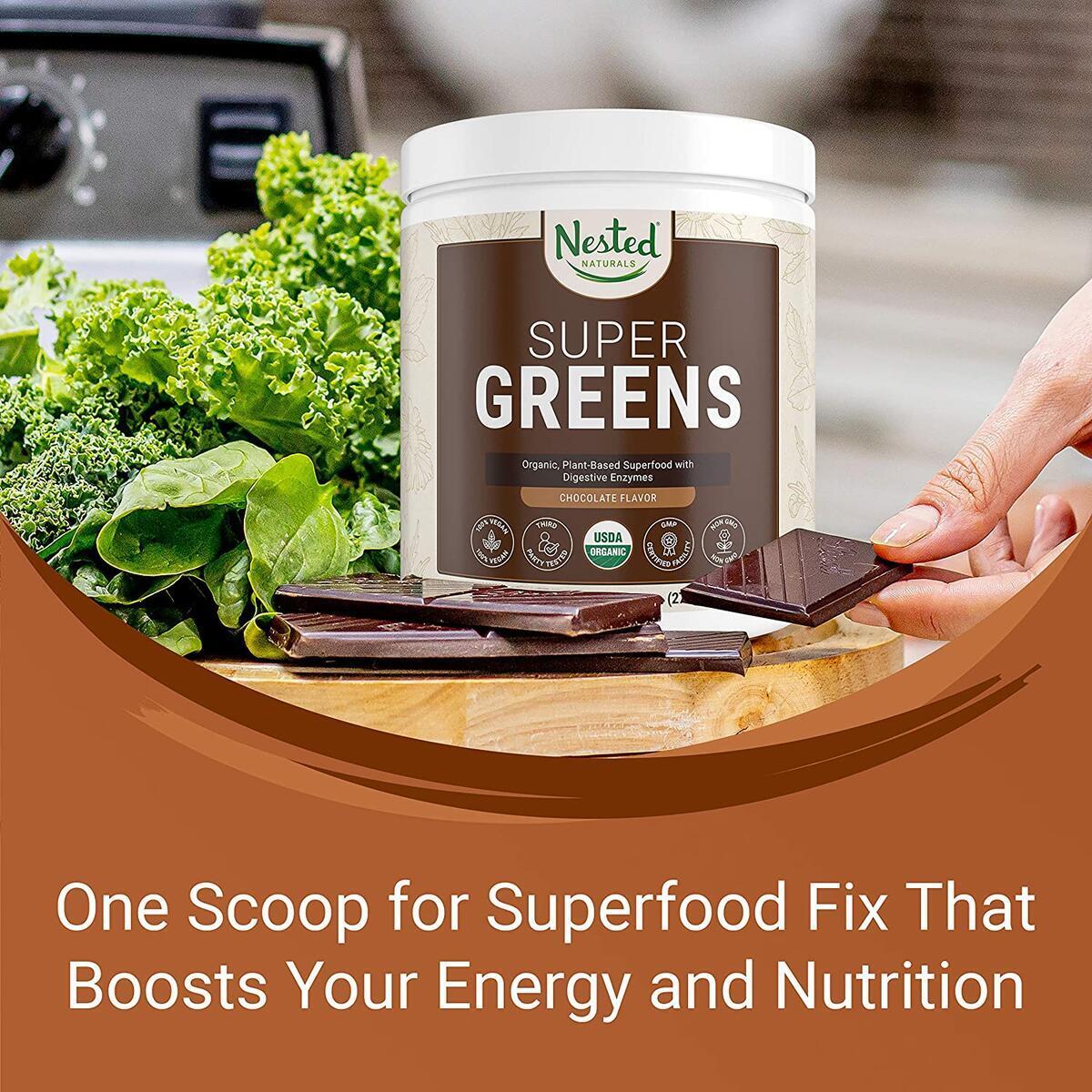 Nested Naturals Super Greens Chocolate   100% USDA Organic Non-GMO Vegan Supplement   20+ Whole Foods (Wheat Grass, Spirulina, Chlorella), Probiotics, Enzymes Smoothie Mix