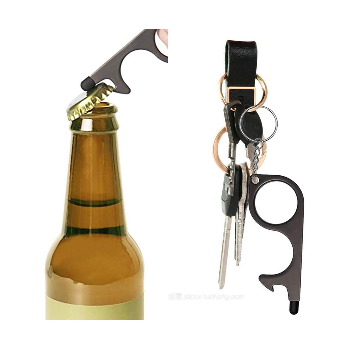 Bihuo No Touch Door Opener Tool, 2pcs Touch Hook 3-in-1 Multitool Door Opener Touch Screen Bottle Opener, Keychain Free Brass Stylus Touchless Germ Key Set (Gold & Black)