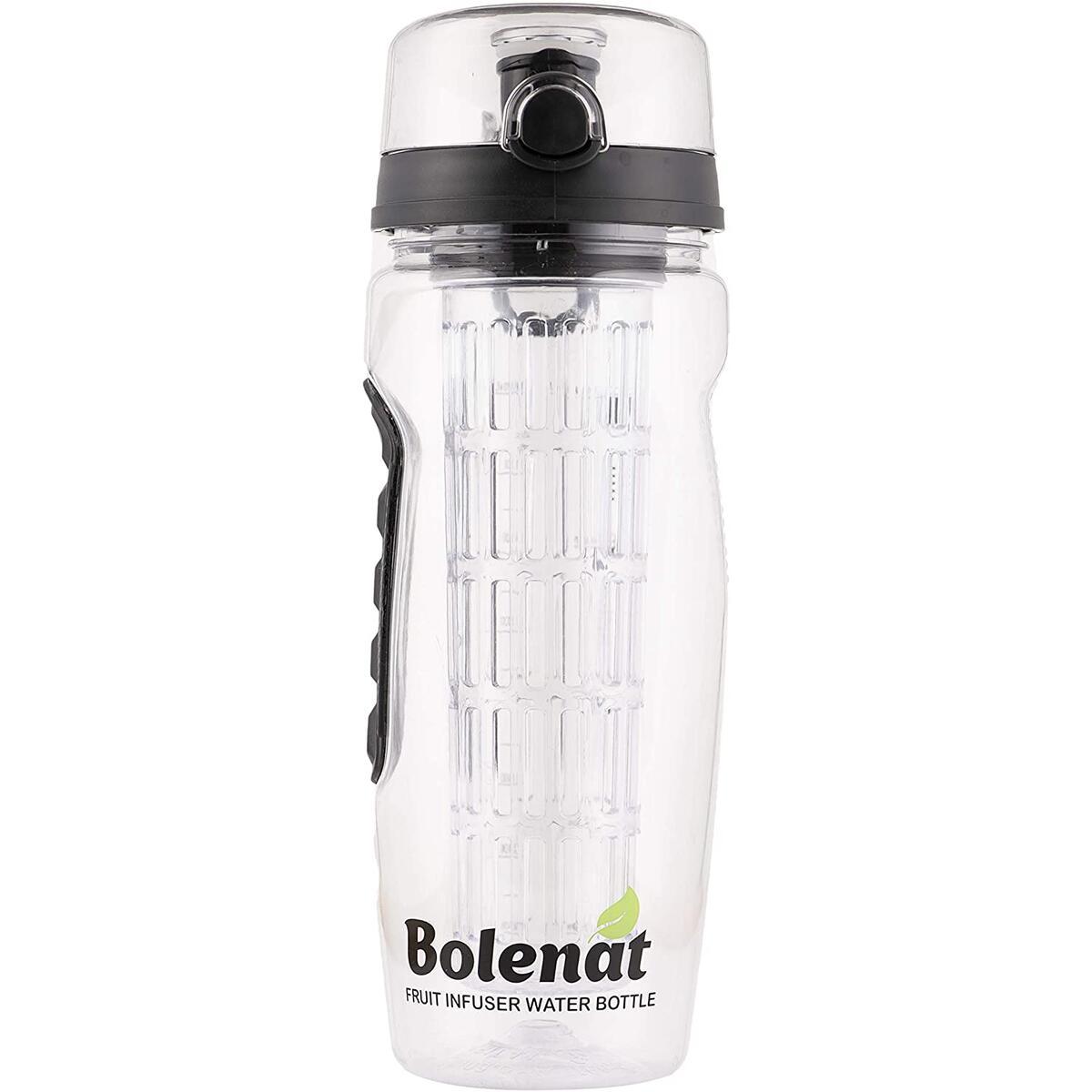 Bolenat Daily Pro Aqua Fruit Infuser Water Bottle, 32 oz Large. Reusable safe for Women & Men, portable Healthy Set- leak Protection, Shaker ball for Protein Shakes, Tritan Bpa Free (black)