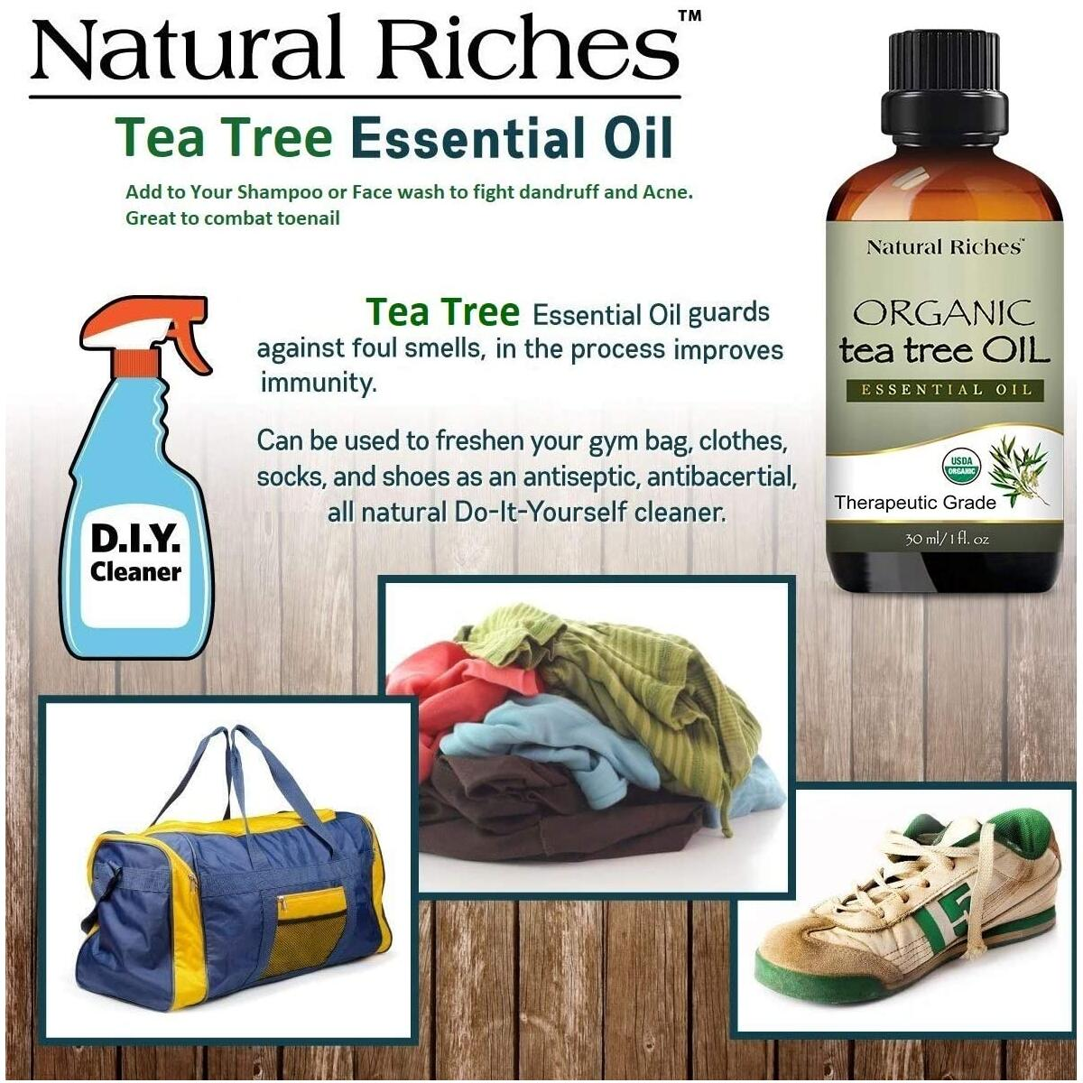Natural Riches Organic Tea Tree Oil - Melaleuca Alternifolia Oils Therapeutic Grade Natural Pure Tea Tree Essential Oil for Acne, Hair, Skin and Scalp from Natural Riches - 30ml