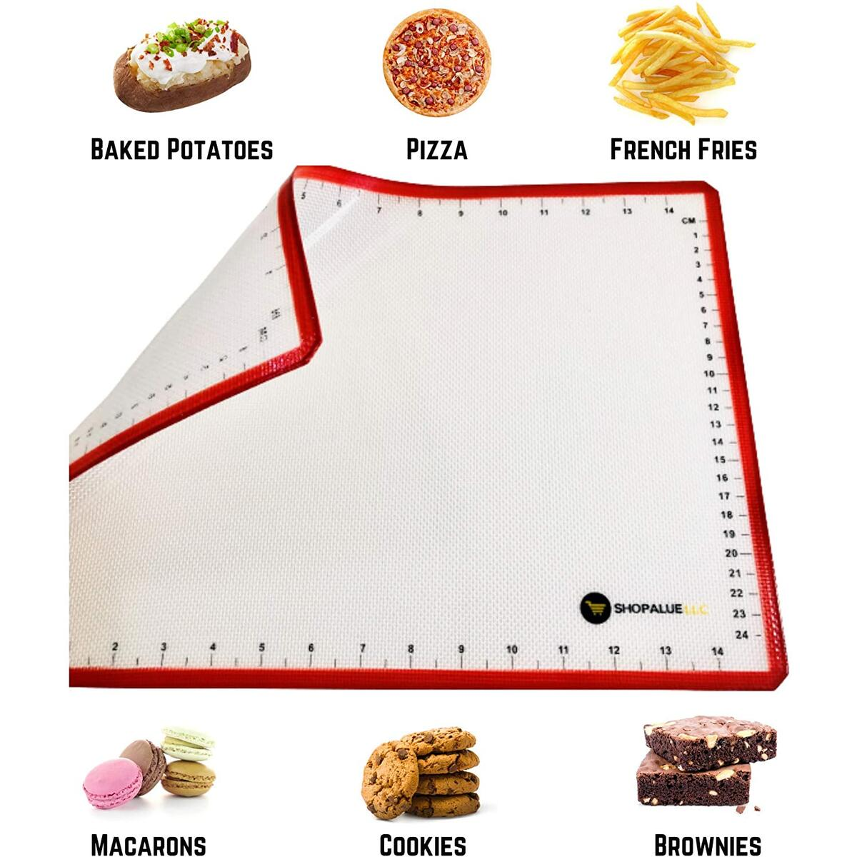 SHOPALUE Silicone Baking Mat with Measurements - Pack of 2 - Macaron Baking Mat Food Safe - Nonstick Pastry Mat for Rolling Out Dough - Kitchen Kneading Mat - Large Size - Reusable Oven Mat