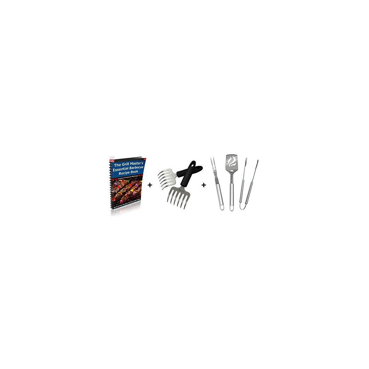 Pulled Pork Shredder Rakes + BBQ Grill Tools Set - Heavy Duty 20% Thicker Stainless Steel - Professional Grade Barbecue Accessories - 3 Piece Utensils Kit Includes Spatula Tongs & Fork