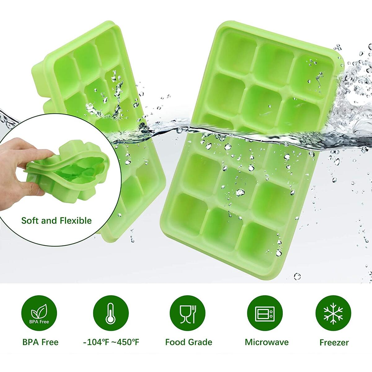 Ice Cube Trays - UTAKE 15-Ice Trays Easy-Release and Flexible with Removable Lid Ice Cube Molds Silicone for Whiskey, Cocktail, BPA free, Durable Stackable Ice Cube Tray 2 Pack Green