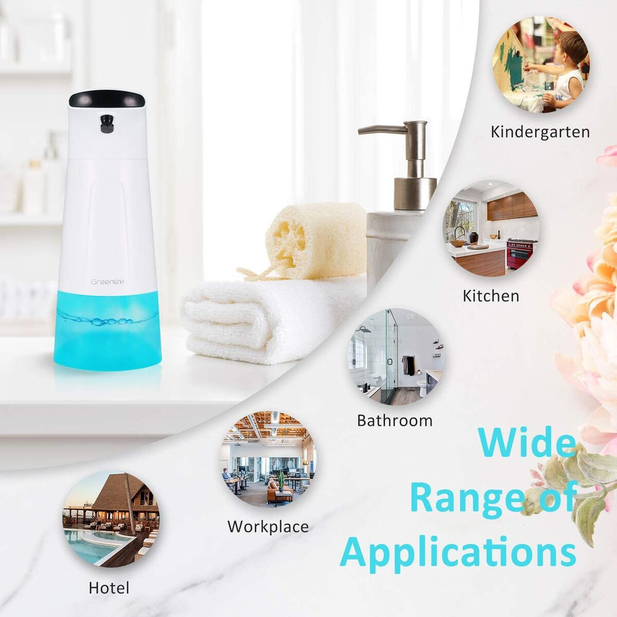 Greenize Automatic Foaming Soap Dispenser, 280ml Touchless Hands Free Soap Dispenser with Adjustable Modes, Battery Operated Foam Hand Soap Pump Dispenser for Multi-Purpose Bathroom/Kitchen/Hotel