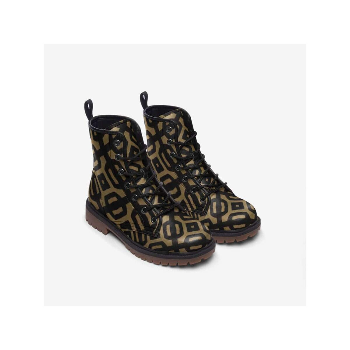 Brown Black Bogolan Leather Lightweight boots MT, 5.5 Women / Black
