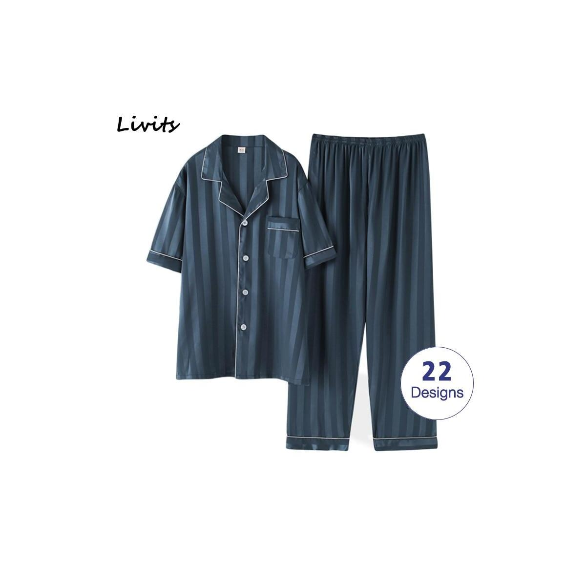 Striped Mens Luxury Satin Pajama Set, NO.18 / L (55-65kg)